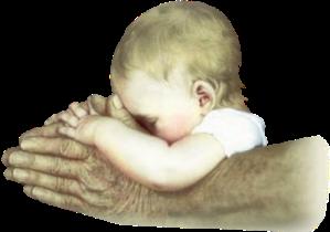 """""""nas mãos de Deus"""" """"nos braços do Pai"""""""